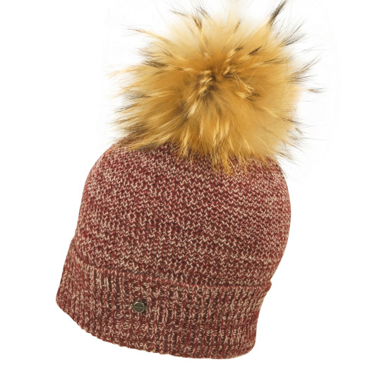 Seeberger Checked Real Fur Umschlagbeanie