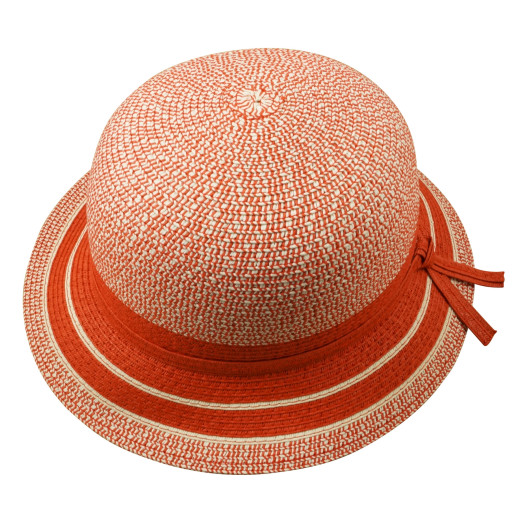 Red Bowed Paper Crush Cloche