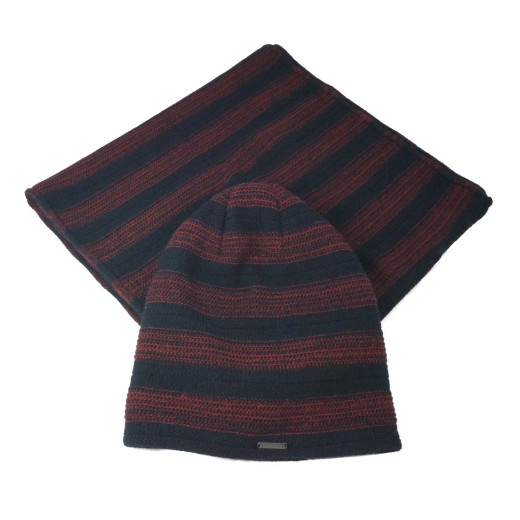 Bugatti Herren WINTER-SET Schlauchschal + Longbeanie striped